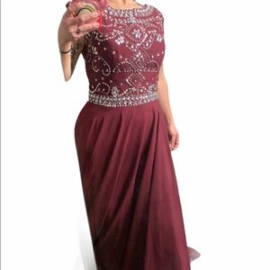 Rhinestones burgundy sleeveless gown size 10